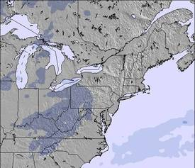 Appalachians and Great Lakes Snow Map (3 Days)