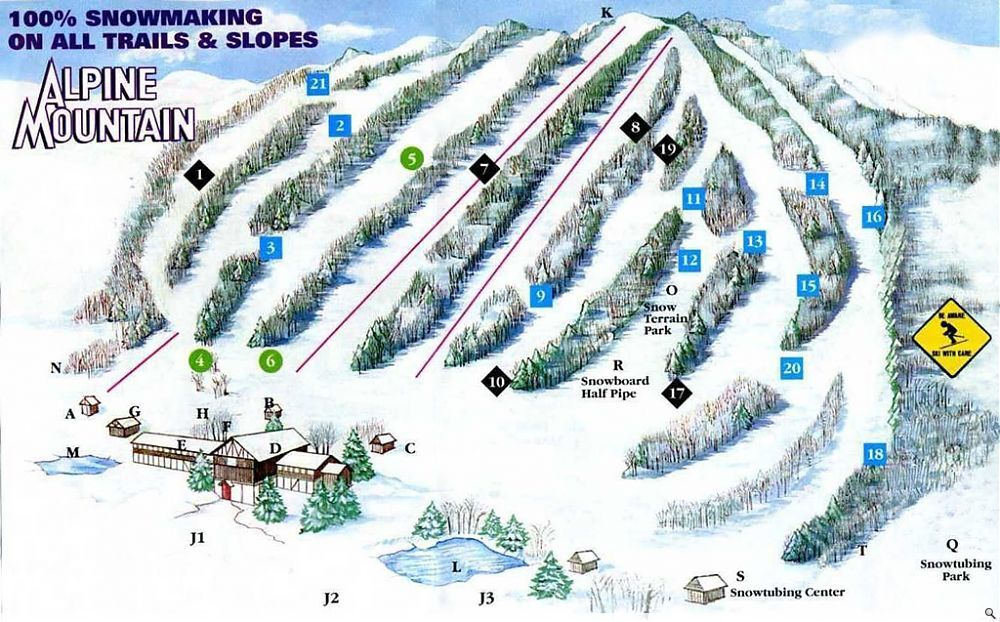 Alpine Mountain Piste / Trail Map