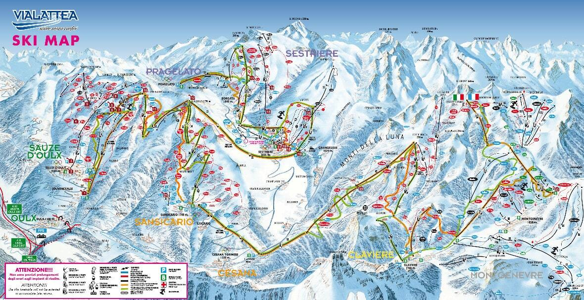 Claviere (Via Lattea) Piste / Trail Map