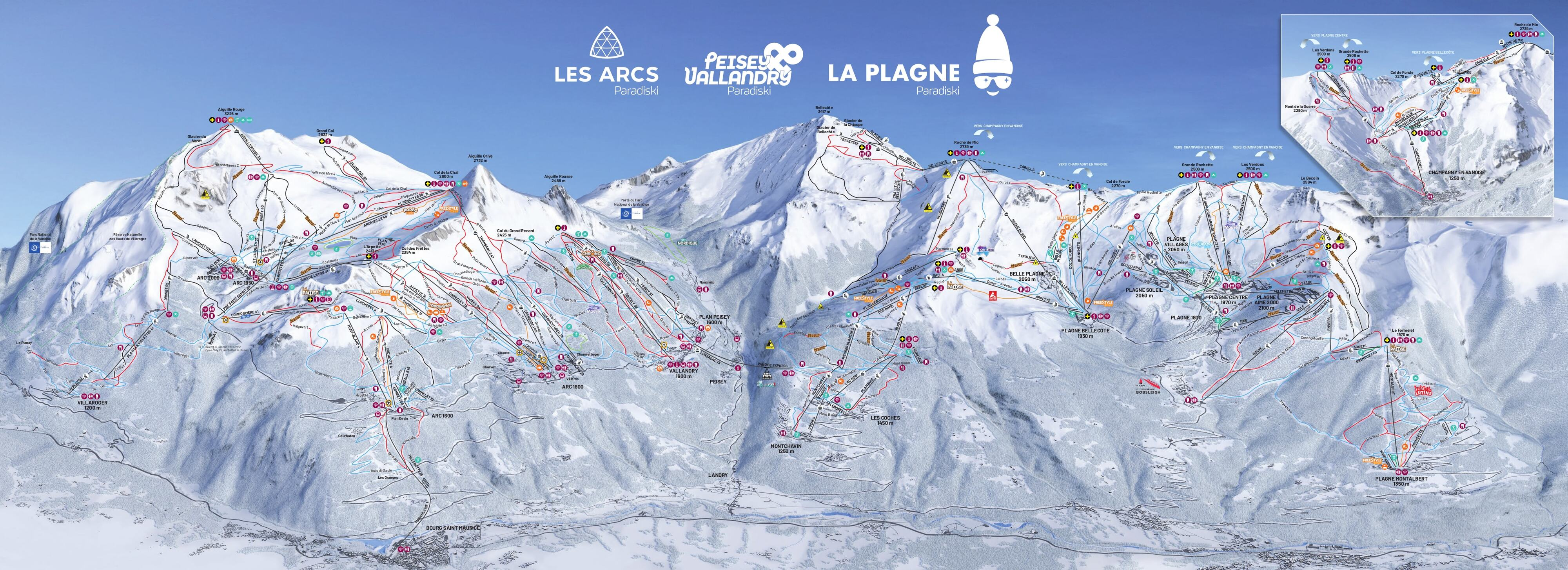 Peisey/Vallandry Piste / Trail Map