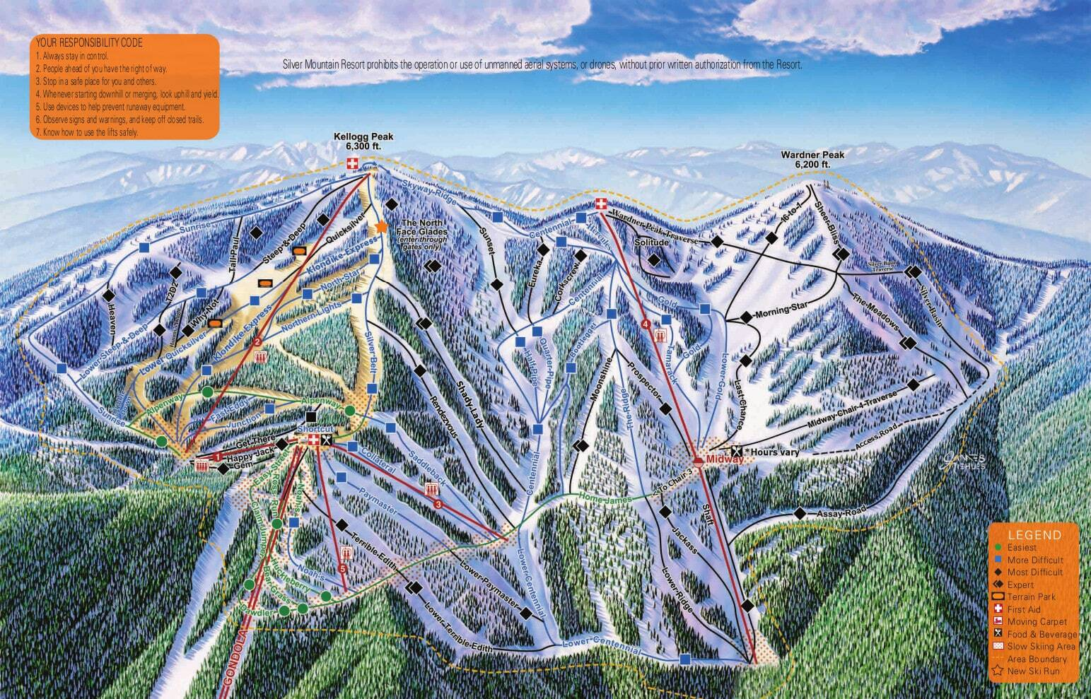 Silver Mountain Piste / Trail Map