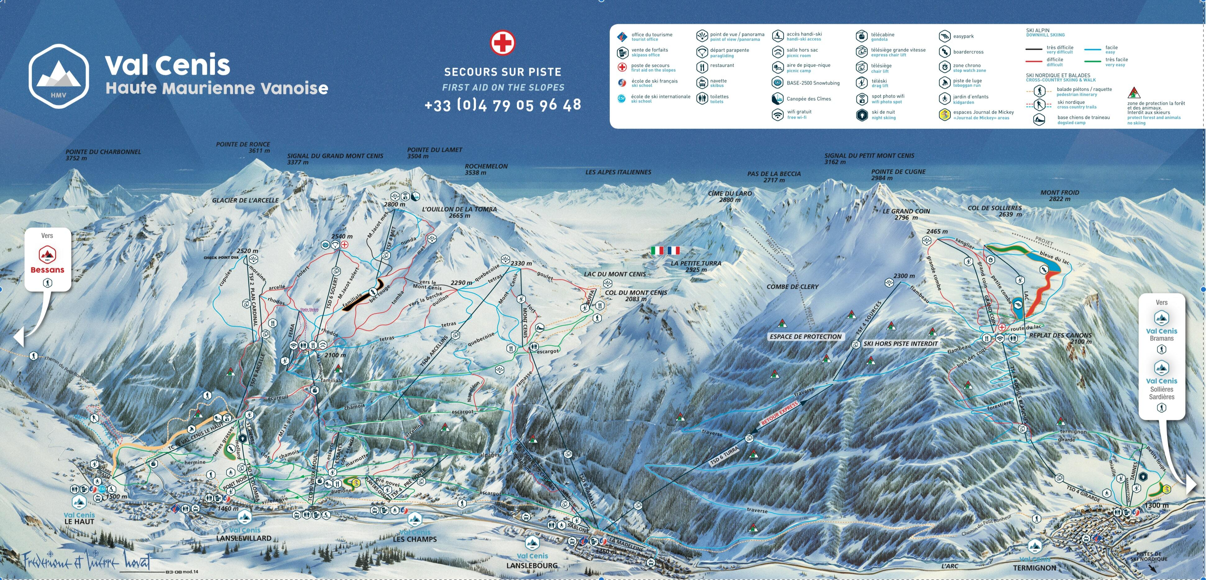 Val Cenis Piste / Trail Map